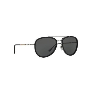 New Burberry Aviator Sunglasses BE3090Q Gunmetal Matte Black 100387 Grey UV Lens