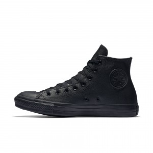 Converse Chuck Taylor All Star Leather High Top 135251C Black Monochrome