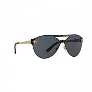 New Original Versace Aviator Sunglasses VE2161 100287 Gold Metal Grey Lens NIB