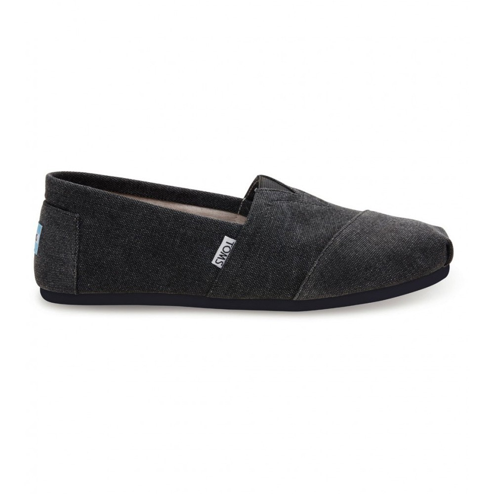 Toms Classic Black Canvas Washed