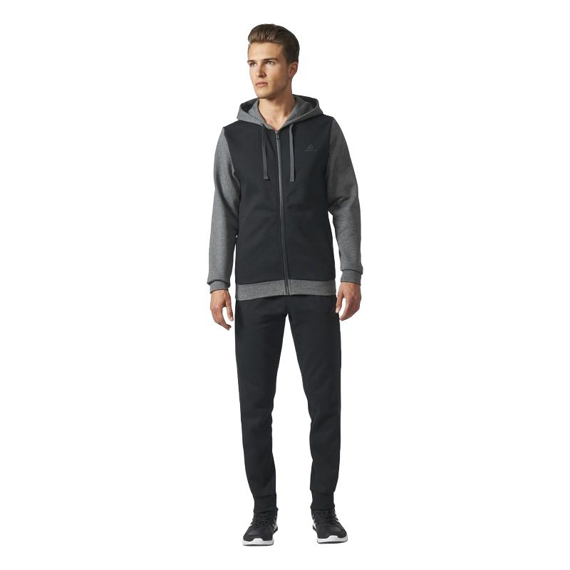 Adidas Energize Tracksuite Black Grey Fleece
