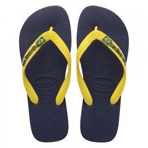 Havaianas Brazil Logo Navy Blue Citrus Yellow