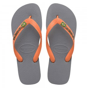 Havaianas Brazil Logo Steel Grey Neon Orange