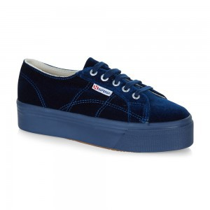 Superga Shoes 2790 Velvetw Platform Blue