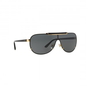 7e94ff5b58203 Quick View Authentic New Versace Sunglasses VE2140 100287 Black Gold Metal  40mm Grey Lens