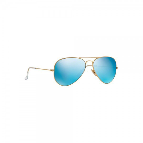 Ray Ban Aviator Sunglasses RB3025 Matte Gold 112/17 55mm Green Mirror Blue Lens