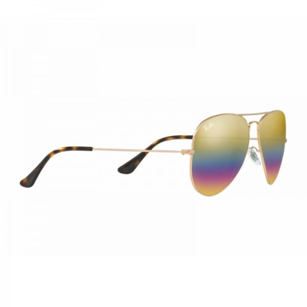New Ray Ban Aviator Sunglasses RB3025 Metal Frame 9020C4 58mm Gold Rainbow Lens