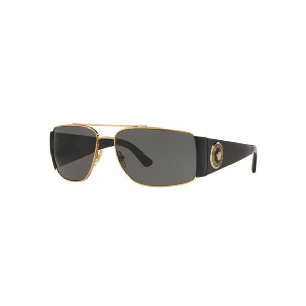 New Original Versace Sunglasses VE2163 100287 Gold Frame Grey Lens NIB for Men