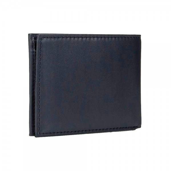 Original Tommy Hilfiger Navy Leather Wallet Credit Card Billfold Passcase Men