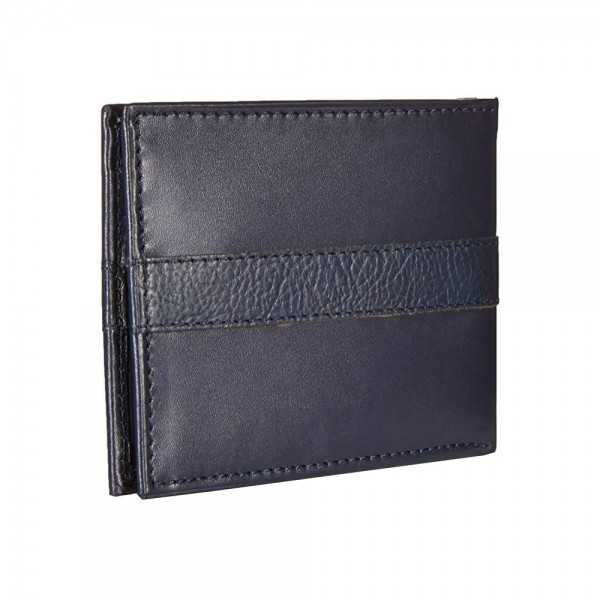 New Tommy Hilfiger Navy Leather Wallet Billfold Credit Card Passcase Men