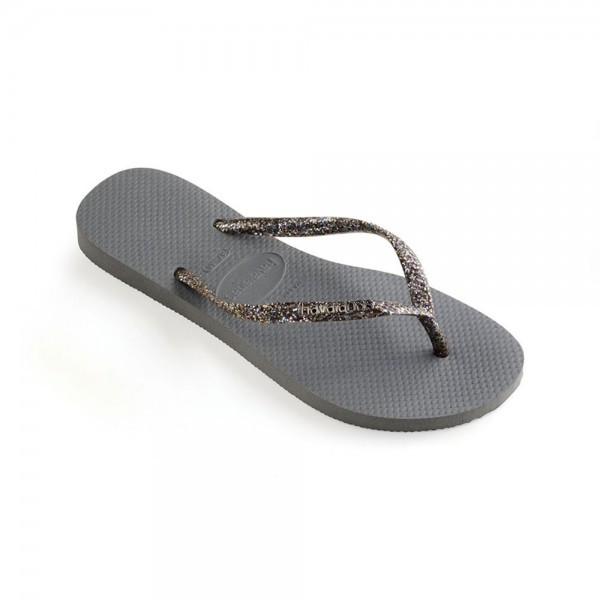 Havaianas Slim Logo Metallic Flip Flops Steel Grey Graphite