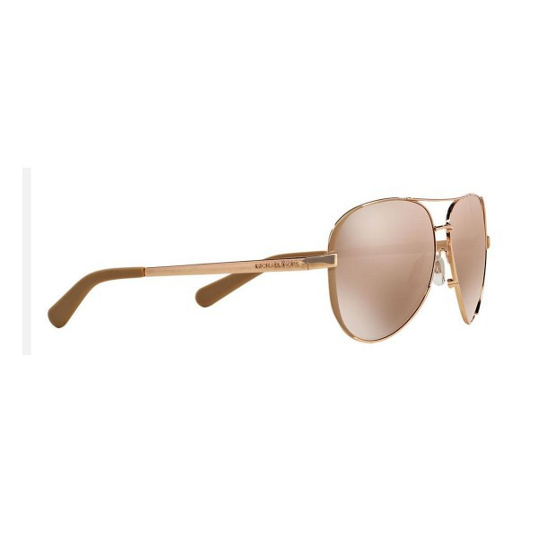 New Michael Kors MK5004 1017R1 Aviator Chelsea Sunglasses Metal Gold Mirror Lens
