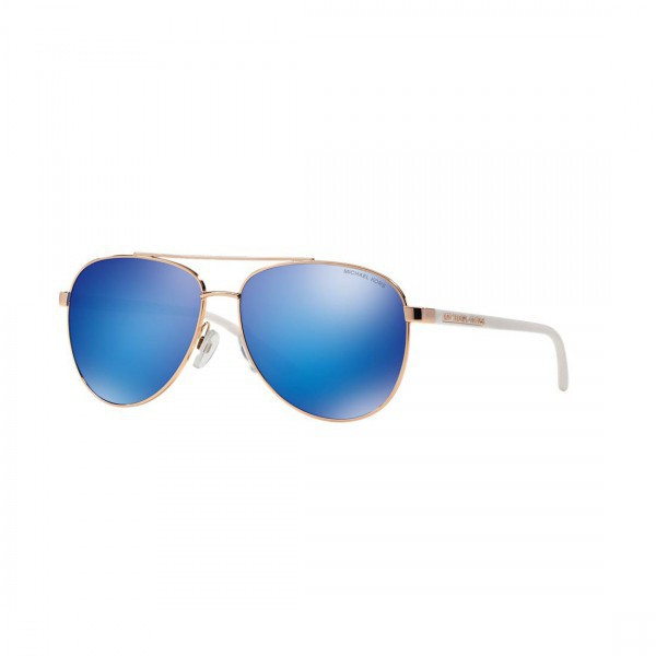 New Michael Kors MK5007 104525 HVAR Aviator Sunglasses Gold Metal Blue Lens NIB