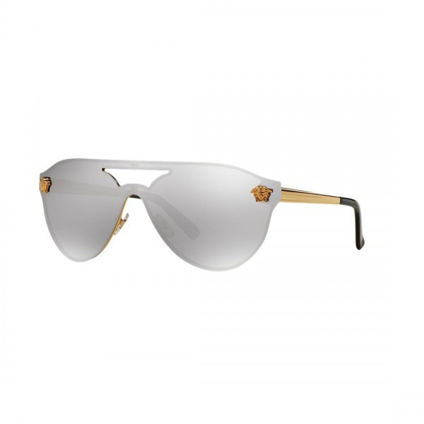 New Original Versace Aviator Sunglasses VE2161 10026G Gold Metal Silver Lens NIB