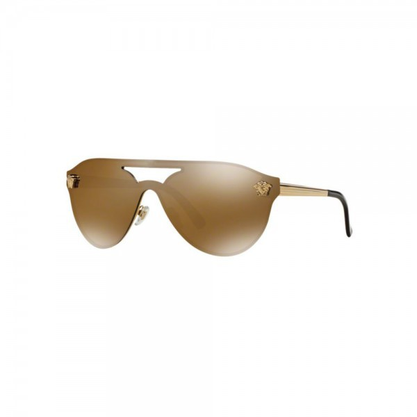 New Original Versace Aviator Sunglasses VE2161 1002F9 Brown Mirror Gold Lens NIB