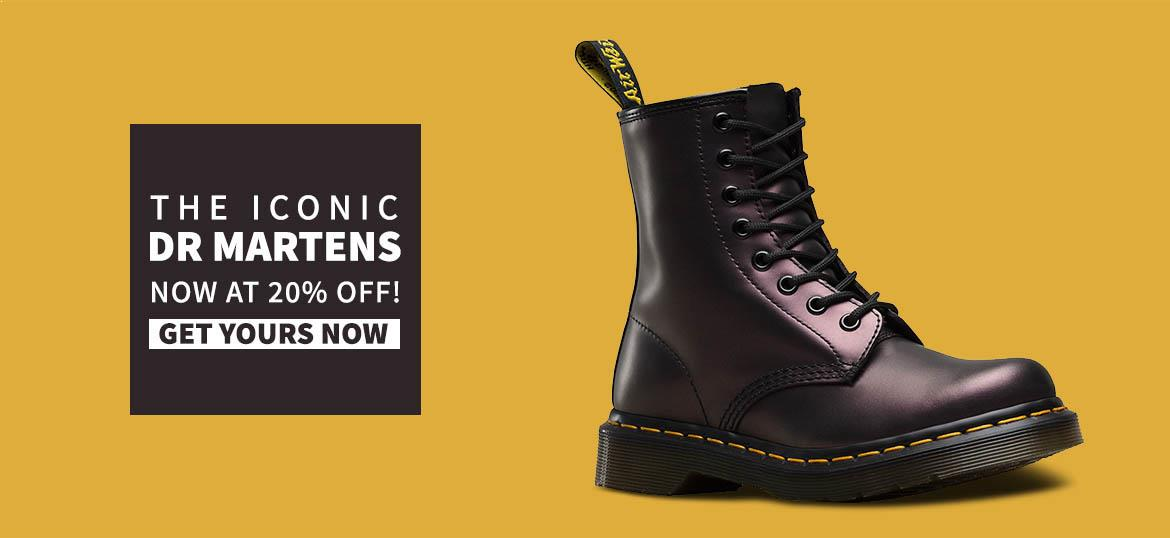 The iconic Doctor Martens, Now at 20% OFF